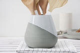 Ceramic utensil Holder- Gray and white