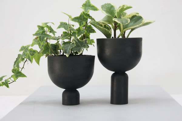 Mia- a set of black modern ceramic planter