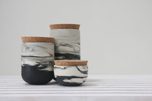 JARS- Ceramic set of 3 jars in marble pattern
