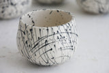 Eve -Ceramic cappuccino cup in white and black lines pattern