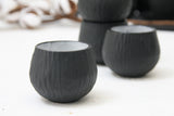Eve - Hand-carved ceramic espresso cup in black and white glossy glaze- short