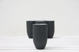 Ori - Ceramic tumbler in black hand-carved pattern