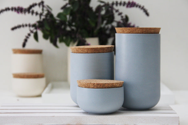 JARS- Ceramic set of 3 different jars in light blue