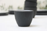 Lili - Hand-carved ceramic espresso cup in black and white glossy glaze