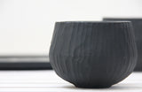 Eve - Hand-carved ceramic cappuccino cup in black and white glossy glaze- Long