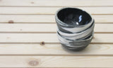 TRIO - Set of 3 small bowls black and white marbled