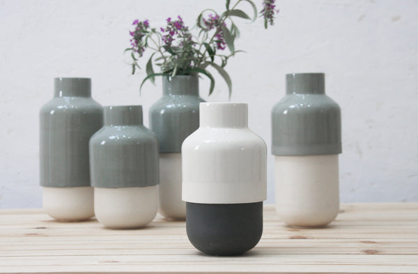 Ceramic vase in black and white