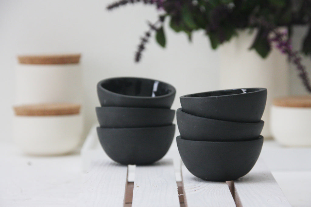 Trio- 3 ceramic small bowls in black and glossy glaze