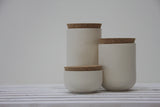 JARS- Ceramic set of 3 different jars in white