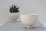 Olive- Modern ceramic planter in white