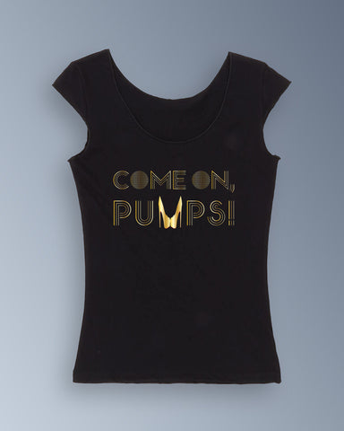 Gold Come On, Pumps! - Sheer Jersey 2 Sided Top