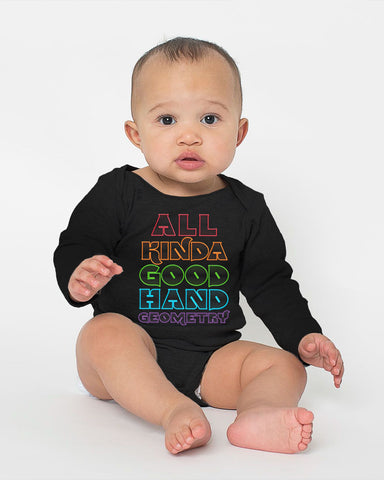 All Kinda Good Hand Geometry - 100% Cotton Long Sleeve Onesie for Kids
