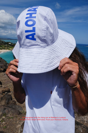 Hat - Wide Brim Aloha - White
