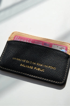 LOGO PRINT - LEATHER CARD CASE WALLET - BLACK/NATURAL