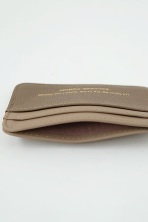 LOGO PRINT - LEATHER CARD CASE WALLET - MAUVE/BROWN