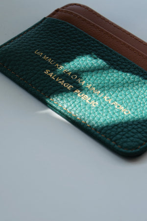 LOGO PRINT - LEATHER CARD CASE WALLET - GREEN/BROWN