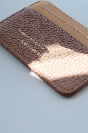 LOGO PRINT - LEATHER CARD CASE WALLET - PINK/NATURAL