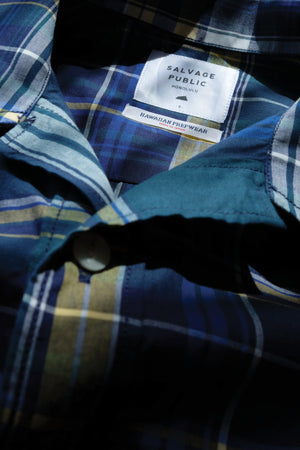 Hawaiian Prepwear Woven Shirt - Plaid - Navy/Green