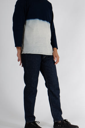 Three-Quarter Sleeve T-Shirt - Indigo Half Dip