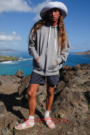 Beach Hoodie - Brand Stamp - Heather Grey