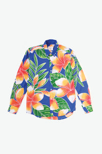 Monsarrat Woven Shirt - Big Plumeria - Royal/Orange