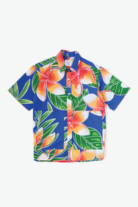 Noa Pocket Woven Shirt - Big Plumeria - Royal/Orange