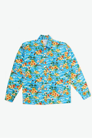 Workshirt - Scenic Hibiscus - Blue