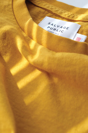 Oversized Pocket T-Shirt - Surf Team - Mustard