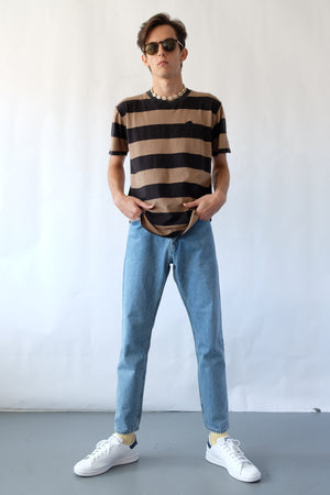 T-Shirt - Block Stripe - Black & Tan