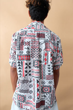 Vintage Aloha Shirt - Mamo - White/Black/Red