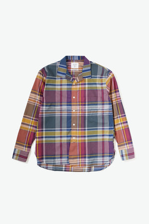 Hawaiian Prepwear Woven Shirt - Plaid - Maroon/Yellow