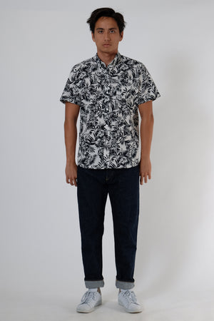 Wela Woven Shirt - Palm Seersucker - Navy & White