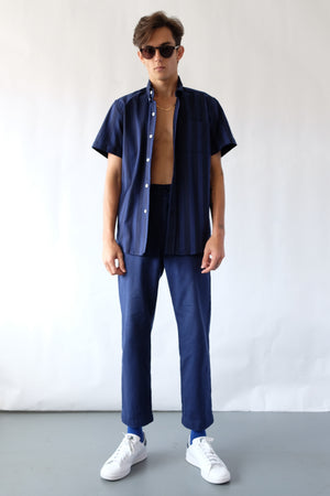 Wela Woven Shirt - Linear Stripe - Navy