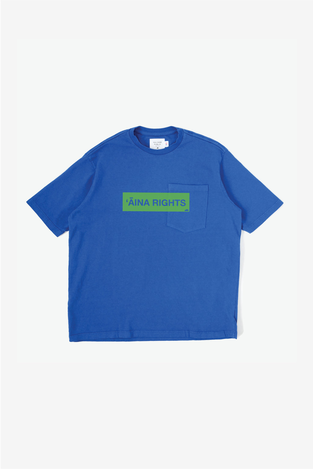 Oversized Pocket T-Shirt - 'Āina Rights - Royal Blue