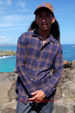 Hawaiian Prepwear Woven Shirt - Plaid - Navy