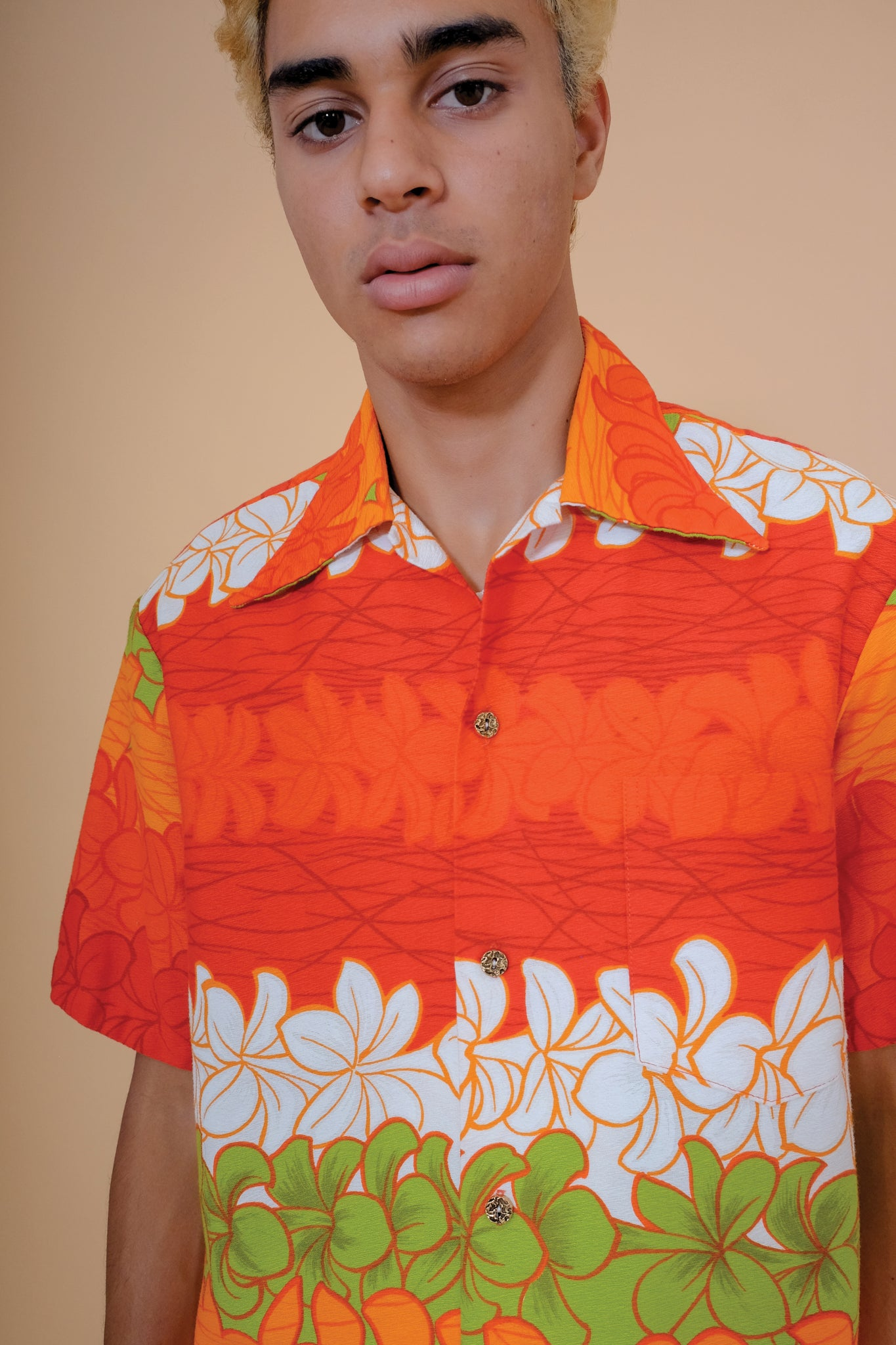 Vintage Aloha Shirt - Keliis of Hawaii - Orange