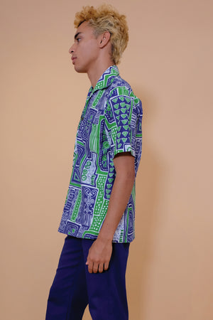 Vintage Aloha Shirt - Blue & Green