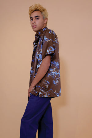 Vintage Aloha Shirt - Tori Richard - Brown and Blue