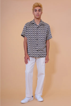 Vintage Aloha Shirt - Tori Richard - Black & Beige