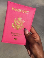 """Haute"" Pink Passport Cover"