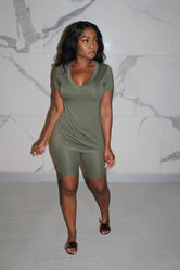 Olive shorts chill set