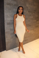 Nude race back dress