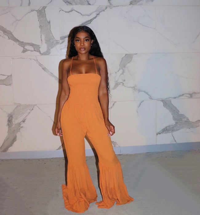 Orange flair jumpsuit