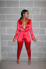 Red satin pant set