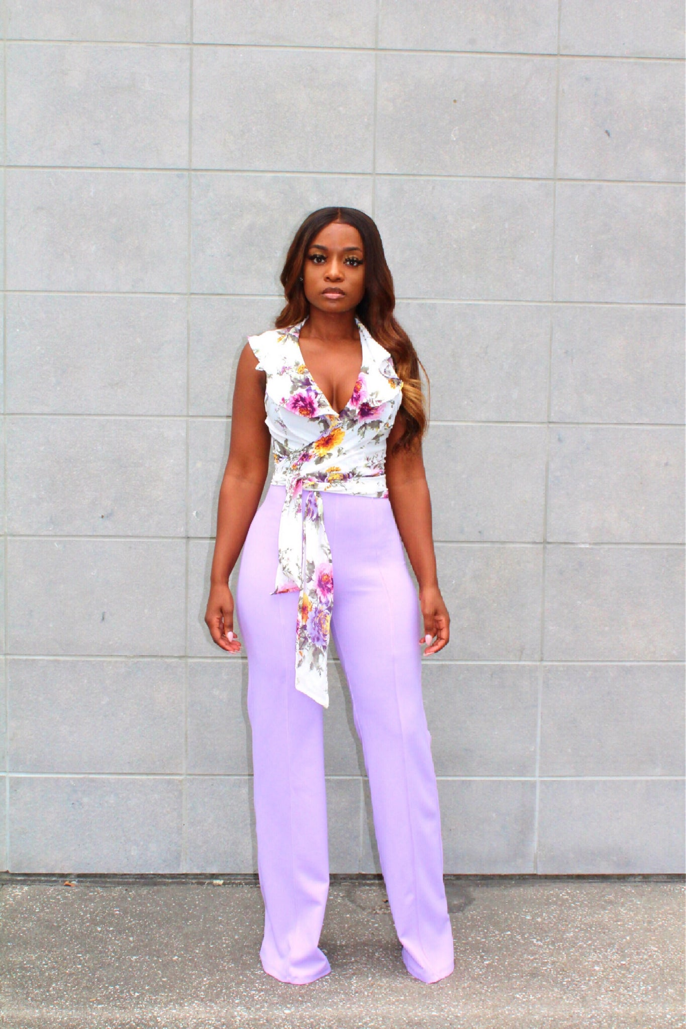 Purple floral wrap top
