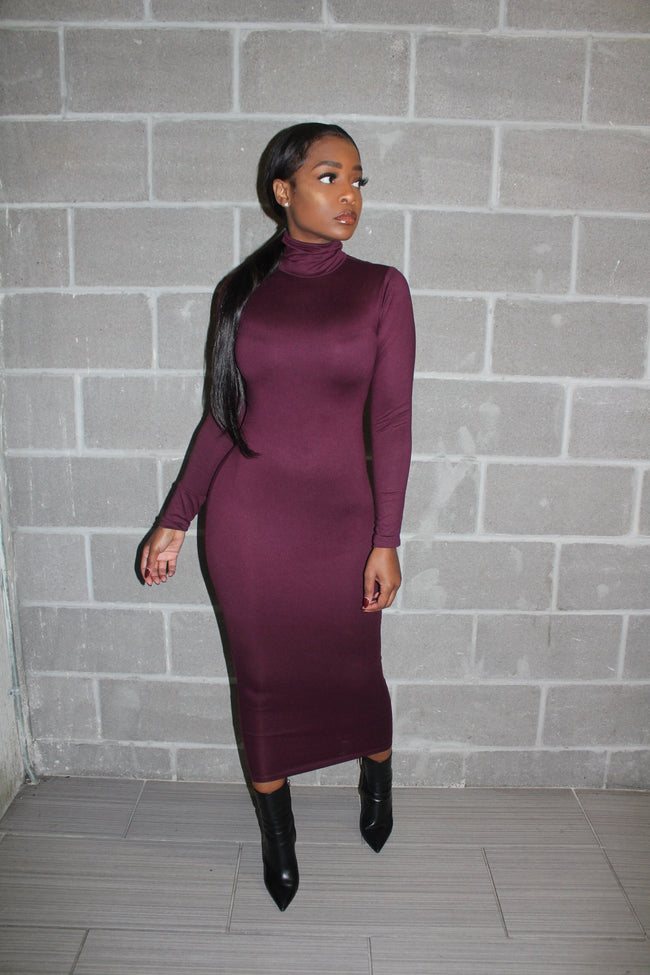 Plum mock neck