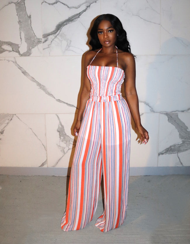 Coral striped smock jumpsuit