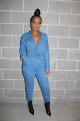 Pocket fall denim jumpsuit