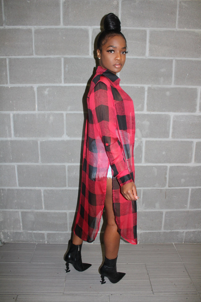 Sheer red plaid button down
