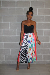 Tropical mixed print skirt